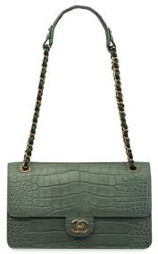 Collecting guide: Chanel Flap Bags | Christie's & A matte sea green alligator and lambskin Maxi Flap Bag with antiqued gold  hardware. Chanel Adamdwight.com