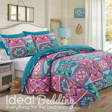 patchwork mandala pink duvet quilt bedding cover and pillowcase bedding set