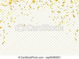 Celebration Background Template With Confetti And Gold Ribbons And Gold White Ribbons Vector Illustration