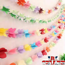 Paper Flower Garland Details About Uk Paper Flower Garland Buntings Wedding Party Birthday Banner Hanging Decor