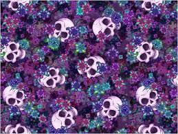 purple plum flowers skull area rug design