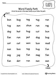 Check out our collection of printable phonics worksheets for kids. Un Word Family Path Word Family Worksheets Word Families Three Letter Words