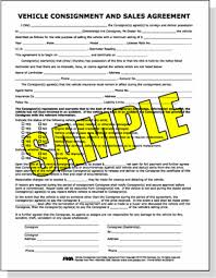 consignment form for cars vehicle consignment and sales agreement form
