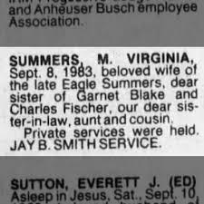 M. Virginia Summers death notice - Newspapers.com