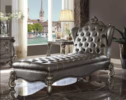 acme 96825 versailles ii antique platinum finish wood frame silver faux leather chaise lounger