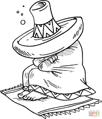 Small Picture Mexican Sleeping Under His Sombrero coloring page Free Printable