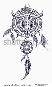 Indian Dream Catcher Tattoo Amazing Bison Skull Indian Dream Catcher Tattoo Stock Vector Royalty Free