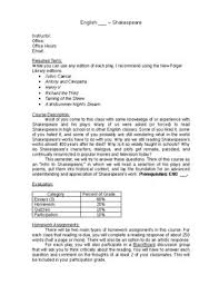 college syllabus template shakespeare course syllabus template and sample course schedule by