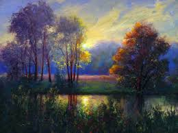down by the river landscape oil painting