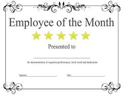 Printable Employee Of The Month Certificates Blank Employee Of The Month Certificate Templates