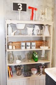 Decorating Kitchen Shelves Kitchen Illuminated Wooden Open Kitchen Shelving On Gray Ceramic
