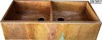 hammered copper farmhouse sink. Double Bowl Copper Farmhouse Sink With Multi-color Patina Hammered