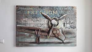 metal airplane metal wood wall art