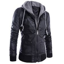 details about fashion mens slim fit hooded leather biker motorcycle jacket casual coat outwear