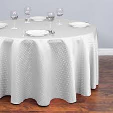 120 in round square point damask tablecloth white