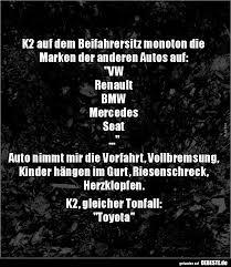 K2 Auf Dem Beifahrersitz Monoton Die Marken Der Anderen Lustige