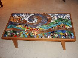 painted glasirror mosaic coffee table image and description