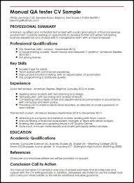 Manual Testing Resume Sample