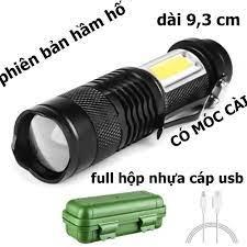 Đèn pin siêu sáng ,mini nhỏ gọn , phiên bản hầm hố , 2 loại đèn xpe và cob,siêu  sáng,sạc cổng usb 5 v, có móc kim loại.