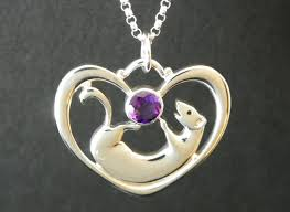 ferret with heart necklace is argentium mixed sterling silver