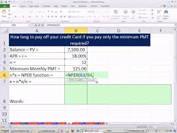 Minimum Credit Card Payment Excel Finance Class 39 How Long To Pay Off Credit Card With Minimum Payment