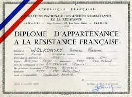 Русские участники французского Сопротивления Город томск ру Диплом участника французского Сопротивления выданный Тамаре Волконской