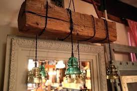 insulator lights reclaimed barn wood beam chandelier vintage faux ligh
