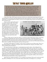 nat turner s slave rebellion primary source worksheet by students  nat turner s slave rebellion primary source worksheet