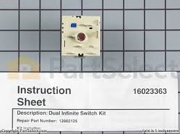 dual infinite switch wiring diagram wiring schematics and diagrams whirlpool 12002125 dual surface burner switch kit partselect part diagram