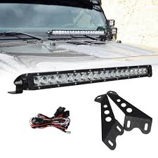 20in Cree Led Light Bar Single Row Us 76 99 21 Off 20 Inch 100w Led Light Bar Hood Mount Bracket Kit 8000lm Single Row With High Quality Led Chips For Jeep Jk Wrangler 07 15 In Light