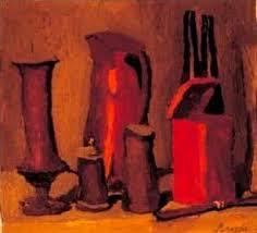 Аналитическая копия работы Дж Моранди Красный натюрморт  Вдумчивая созерцательность искусства Моранди в наивысшей мере проявилась в жанре натюрморта Простые предметы бутылки графины фляги вазы