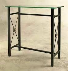 image of metal console table glass top