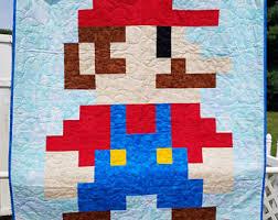 8 bit quilt | Etsy & Handmade 8-Bit Mario Quilt, Pixelated Lap / Wall Hanging Adamdwight.com