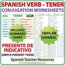 Spanish Tener Chart Tener Spanish Verb Conjugation Worksheets Present Tense