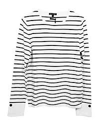 Massimo Dutti Womens Striped Sweater With Buttons 5620 570