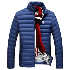nian jeep mens light casual white duck down jacket stand collar soild color warm winter coat