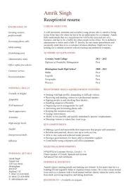Sample Resume For Receptionist 11 Letter Example Medical