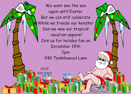 christmas holiday tropical party invitations  tropical christmas holiday party invitations santa and palm trees