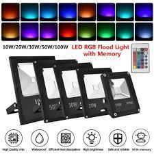 Multi Color Flood Lights Details About Led Rgb Flood Light Outdoor Waterproof Garden Color Changing Remote Memory Lamp