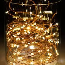 Đèn LED dây kẽm trang trí màu vàng dùng pin