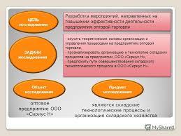 Презентация на тему Учебное заведение Дипломная работа Тема  2 ЦЕЛЬ исследования ЗАДАЧИ исследования Разработка мероприятий направленных на повышении эффективности деятельности предприятия