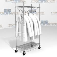 Rolling Coat Rack With Shelf Rolling Racks For Hanging Uniforms Garments Clothes Storage Carts 18