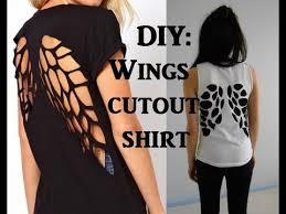 diy wings cutout tshirt upcycling