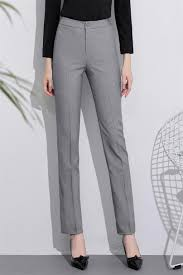Womens Light Gray Pant Suit Us 24 49 30 Off Light Gray High Waist Ol Straight Loose Professional Work Slim Formal Tooling Suit Pants Womens Trousers In Pants Capris From