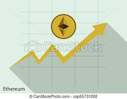 Ethereum Graph Chart Business Ethereum Coin Concept Growth Chart On Graph Background Vector Illustrator