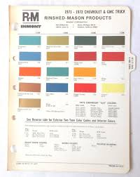 Chevy Stock Chart 1971 1972 Chevrolet Truck And Gmc R M Color Paint Chip