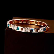 Fashion Luxury Noble Square Blue Crystals Bangles Rose Gold ...