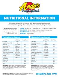 Culver S Nutrition Information Chart Nutritional Information Andys Frozen Custard Ice Cream