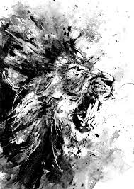 lion original acrylic painting black and white art wild life art room decor angry lion art gift abstract lion painting lion roar