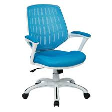 white frame office chair. Ave Six Blue Mesh Fabric With White Frame Calvin Office Chair